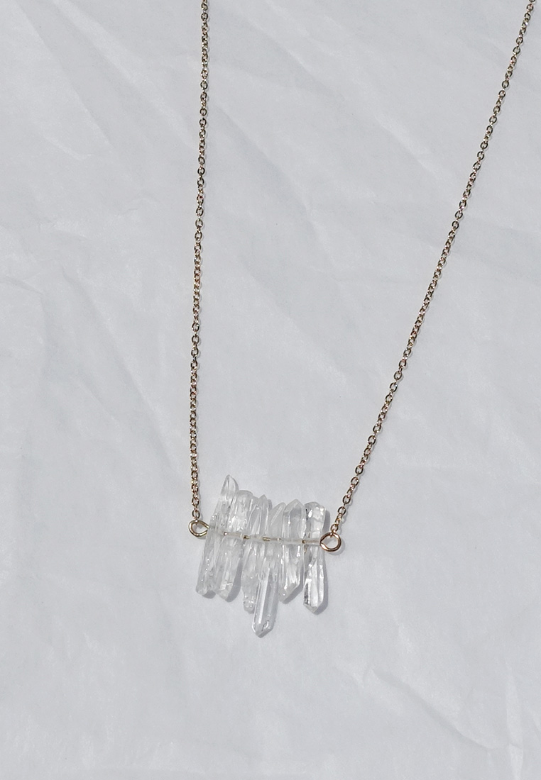 Dainty Clear Quartz Cluster Necklace