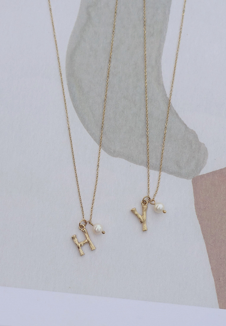 Lev Initial Pearl Necklace