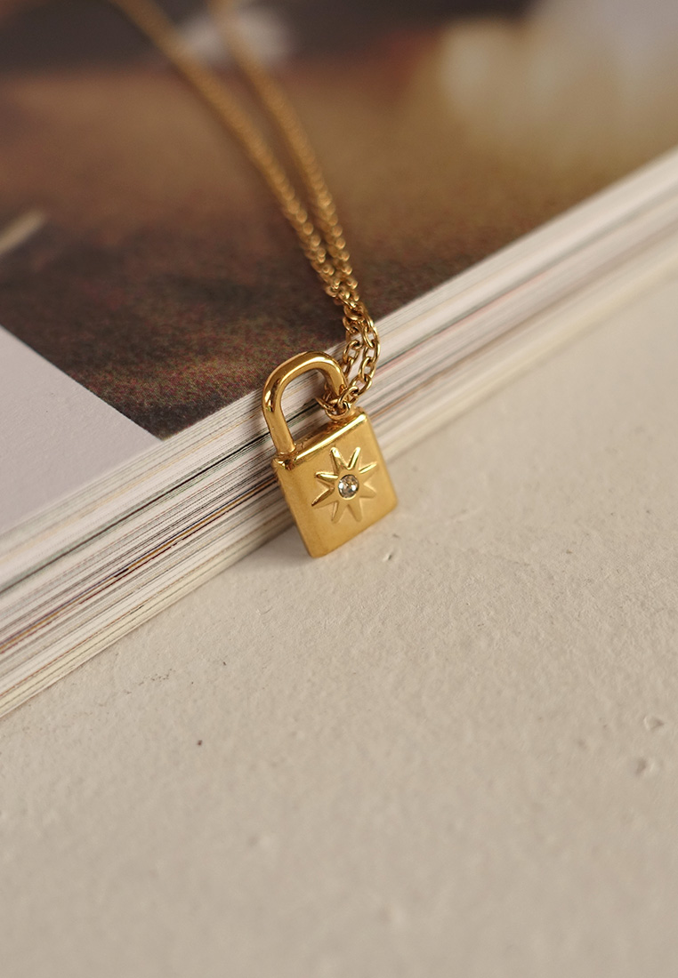 Crystal Padlock Necklace
