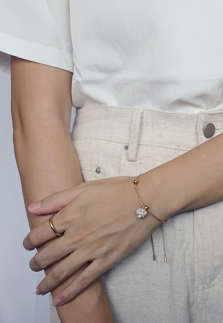 Pearl Cluster Slider Bracelet