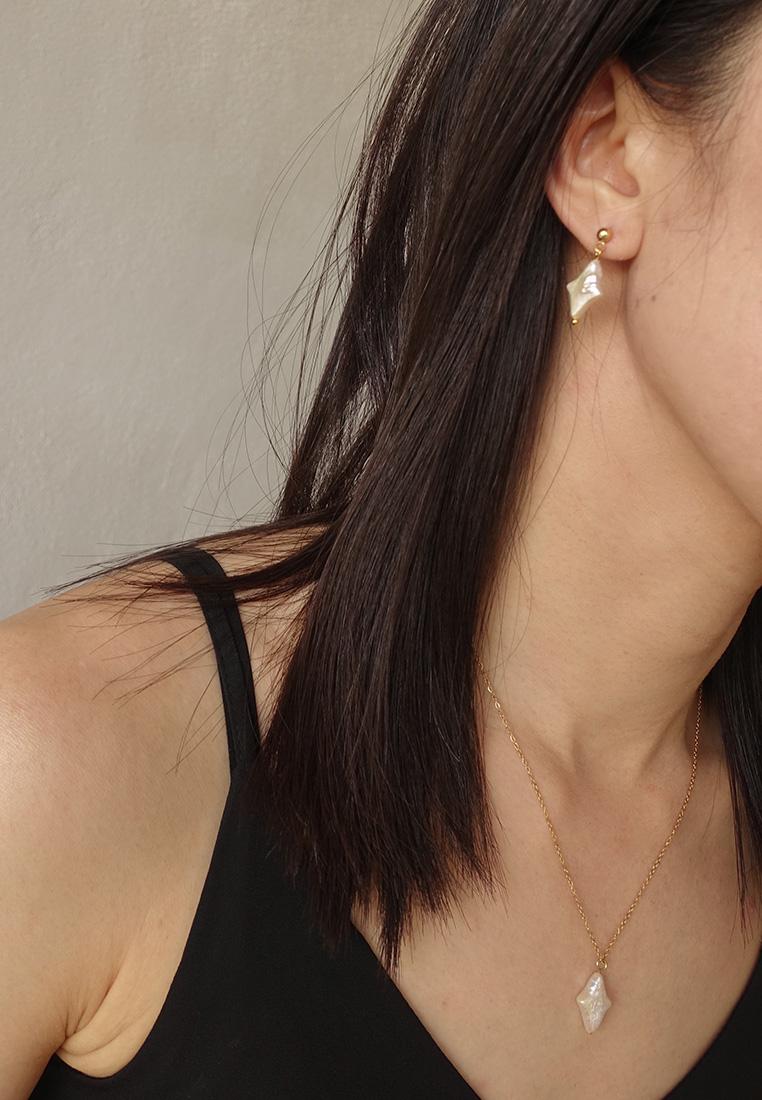 Diamond Star Pearl Earrings